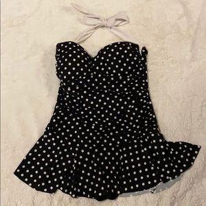 Chaps black white polka dot one piece swim…